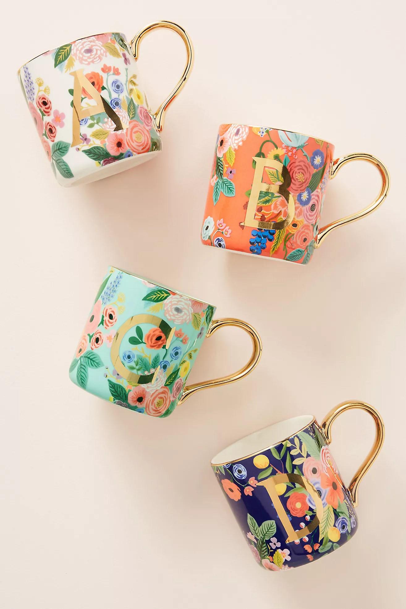 floral Anthropologie bridesmaid mug bridal party gift ideas