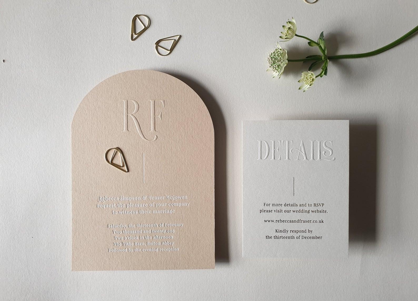 modern letterpress wedding invitations