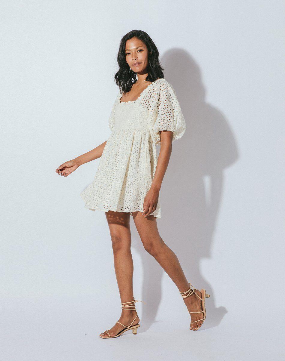 lucca mini dress in cream from cleobella