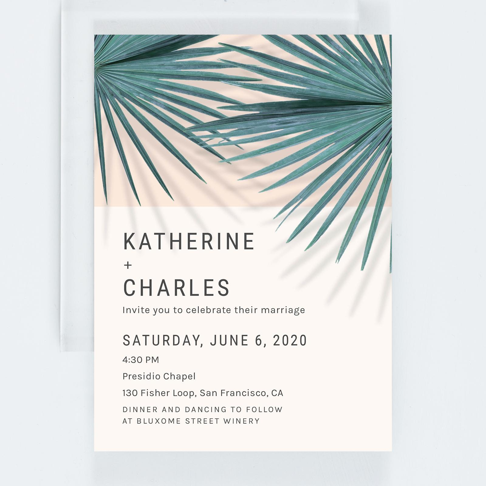 palm frond tropical wedding invites from zola