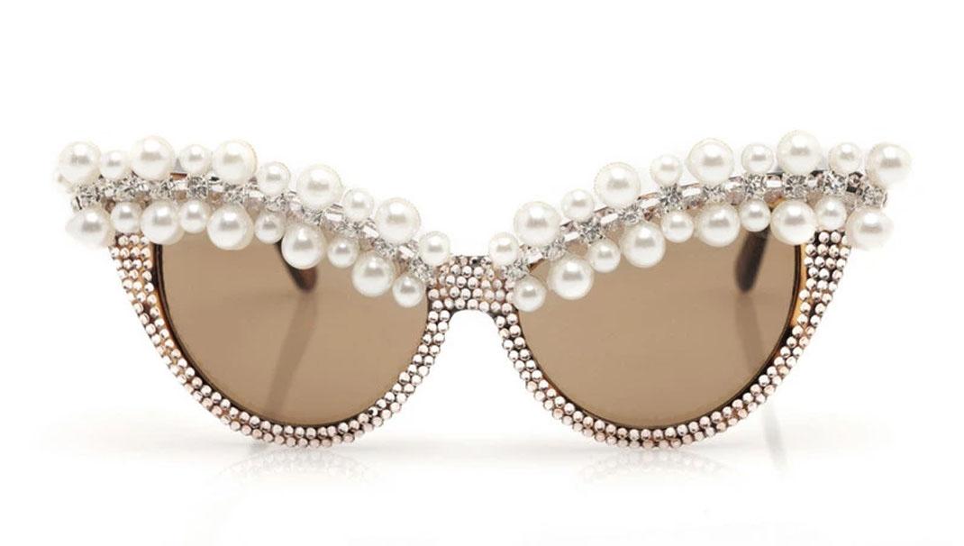 pearl cat eye sunglasses for bride