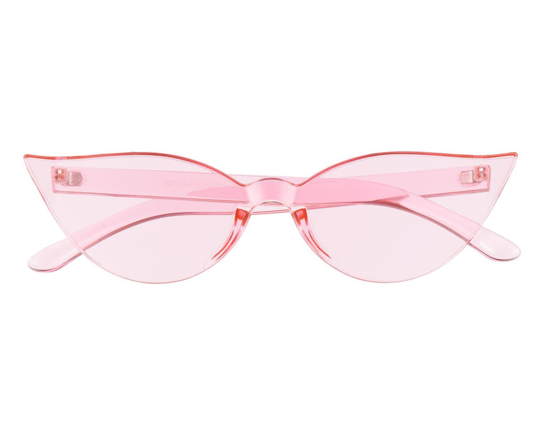 pink rimless cat eye sunglasses