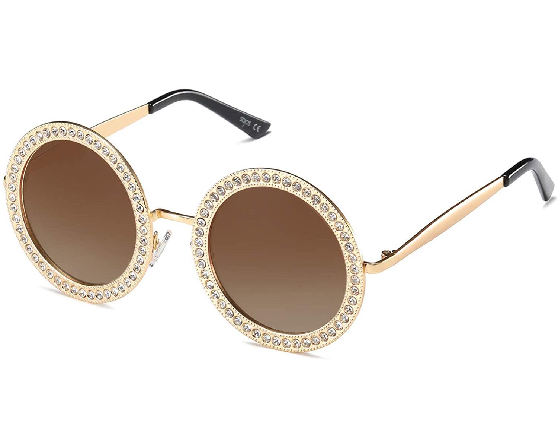 round studded rhinestone sunglasses