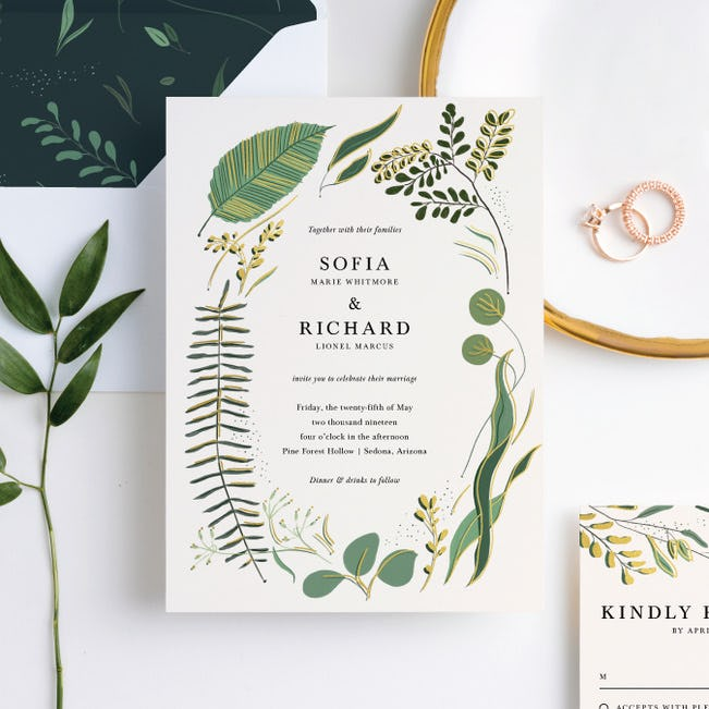 tropical online wedding invites
