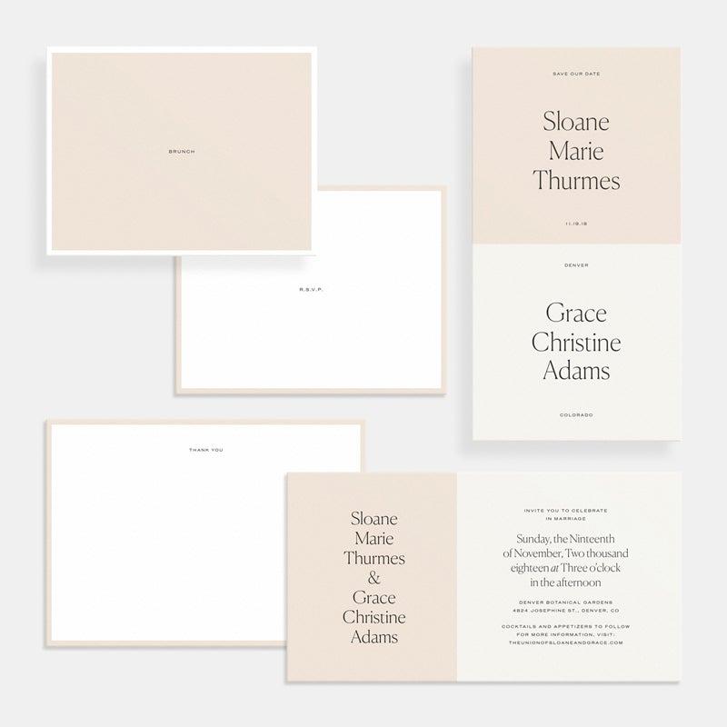 modern artifact uprising wedding invitations