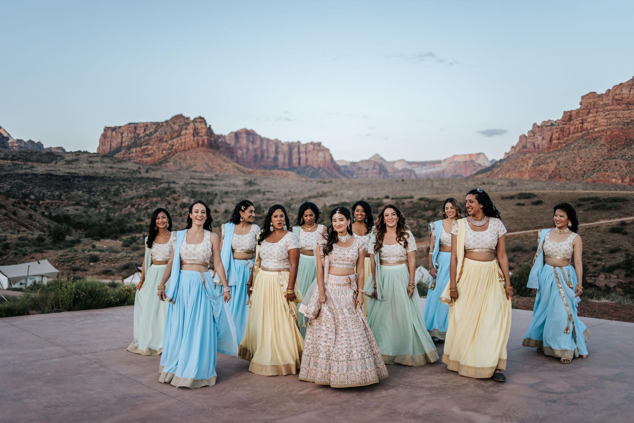 Pastel Sari Bridesmaids