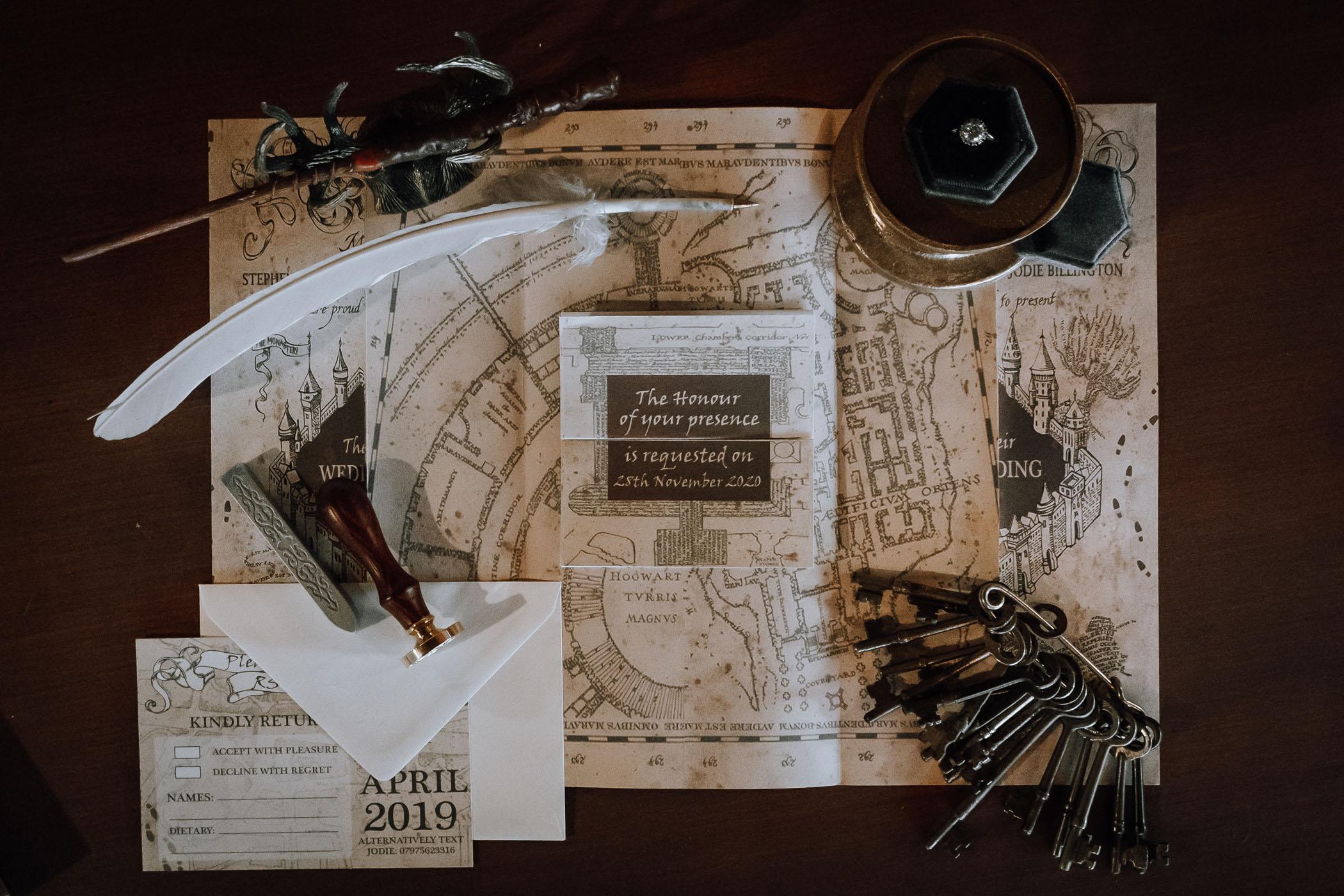 Harry Potter Marauders Map Wedding Invitation