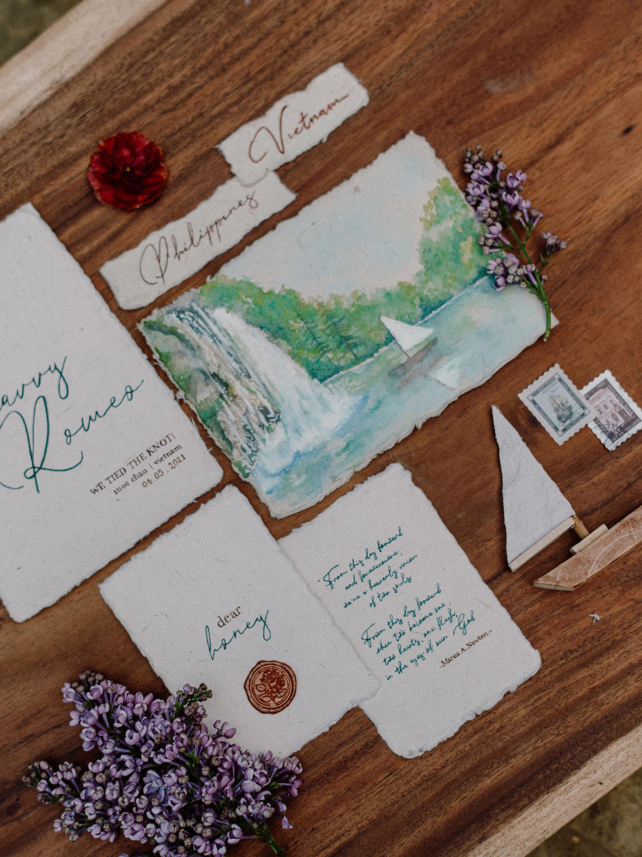 illustrated waterfall invitation