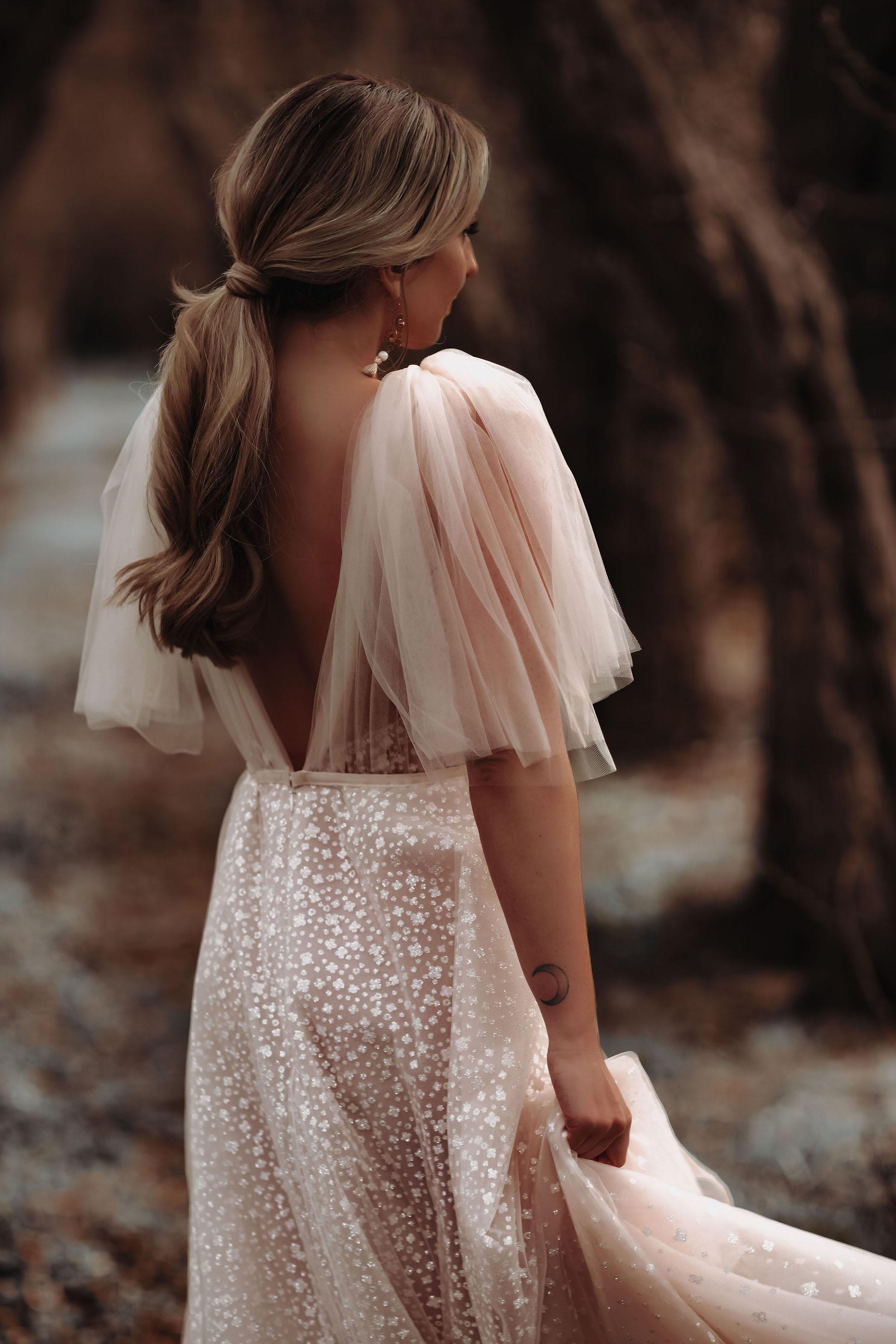 Berta Wedding Dress and Low Bridal Pony