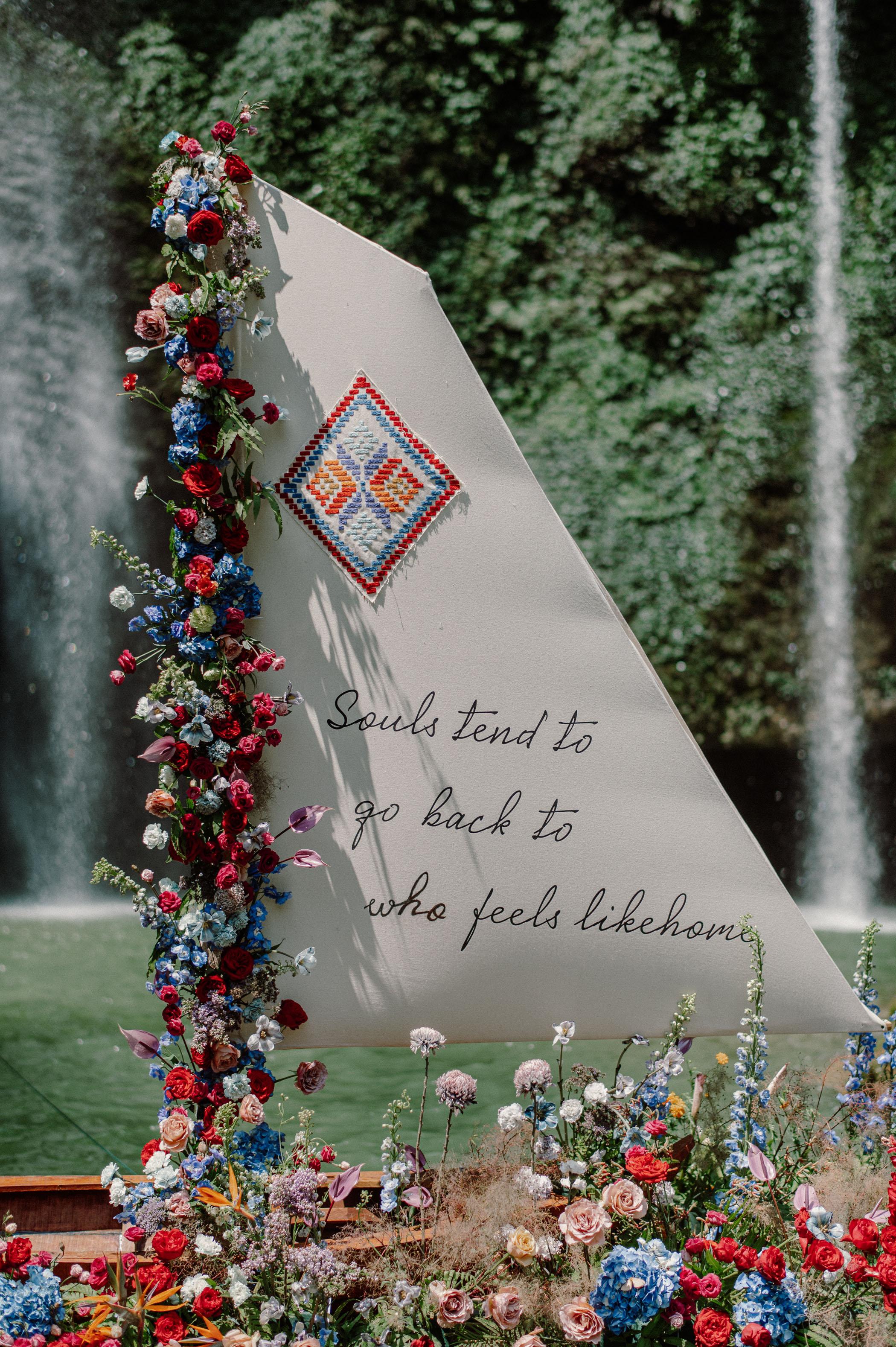 sailboat flower installation