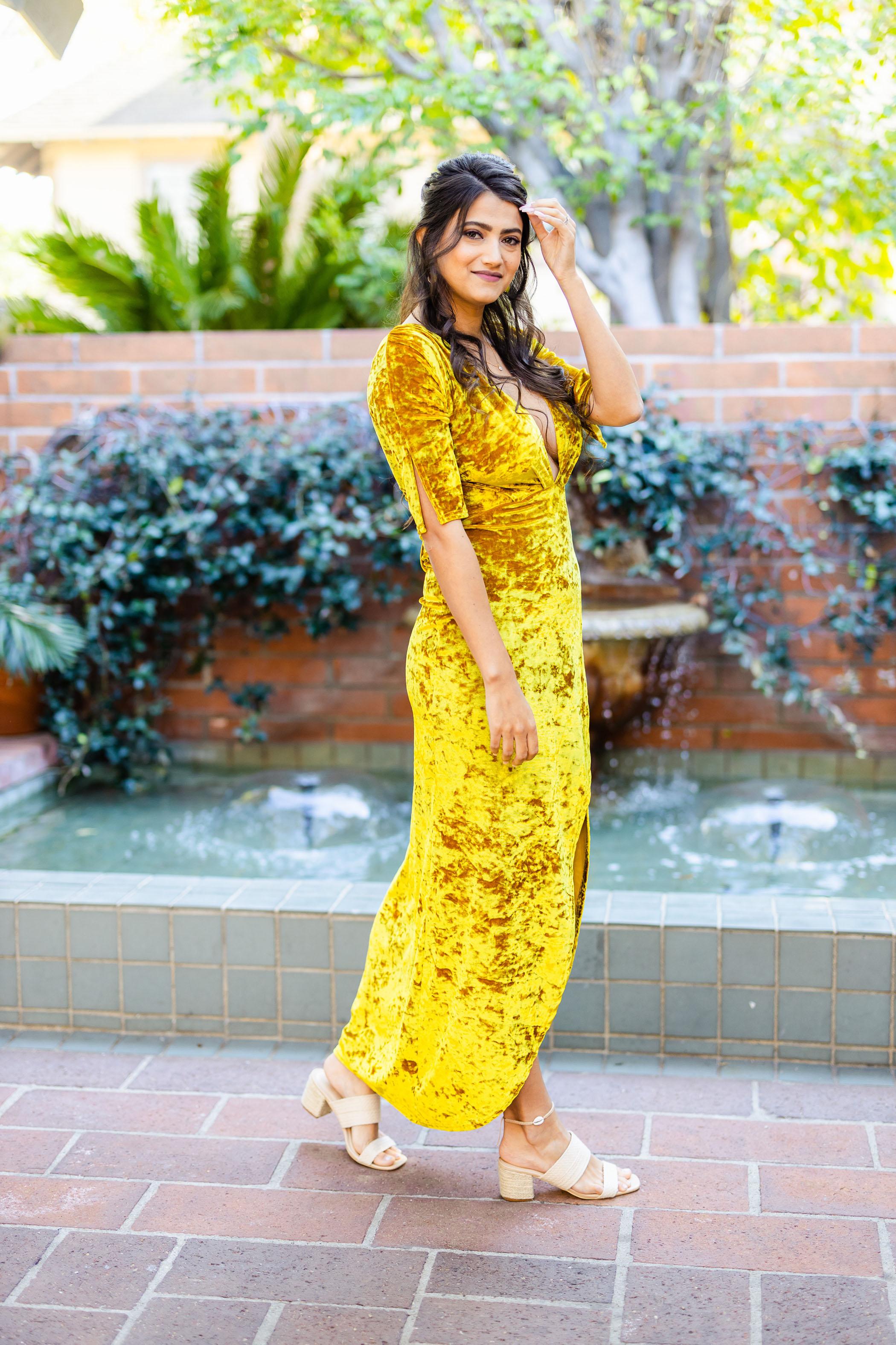 crushed velvet yellow dress