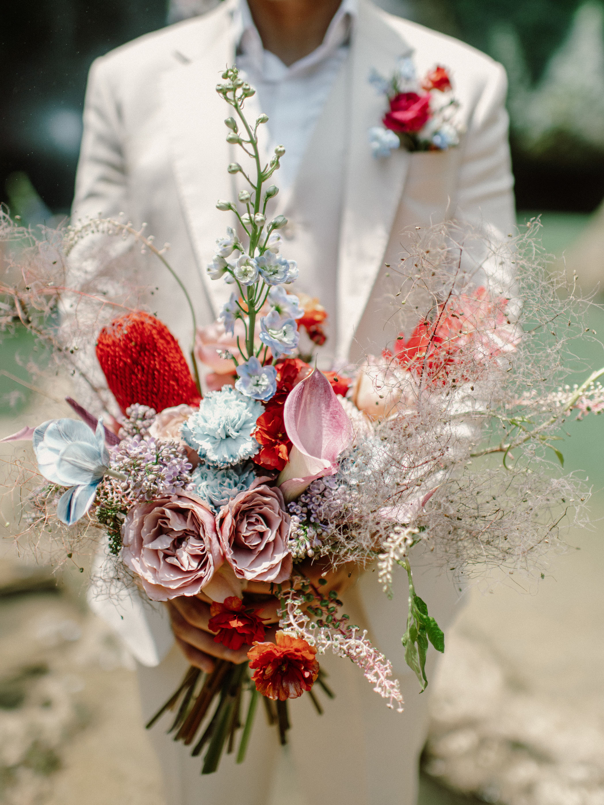 red blue pink bouquet