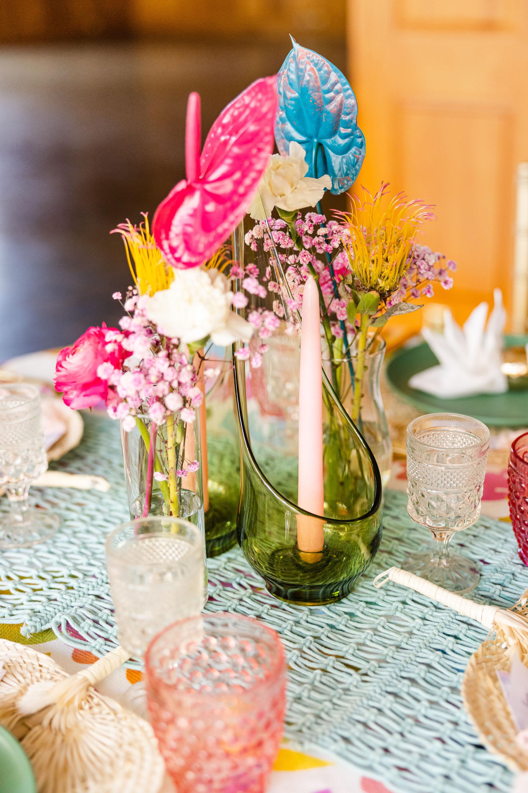 colorful painted floral centerpiece