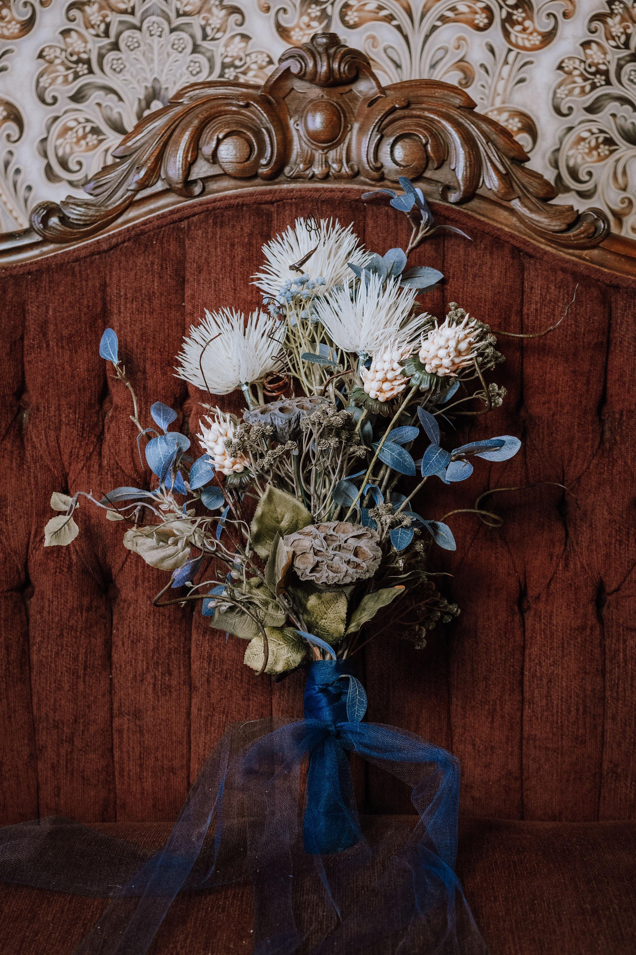dried blue bouquet