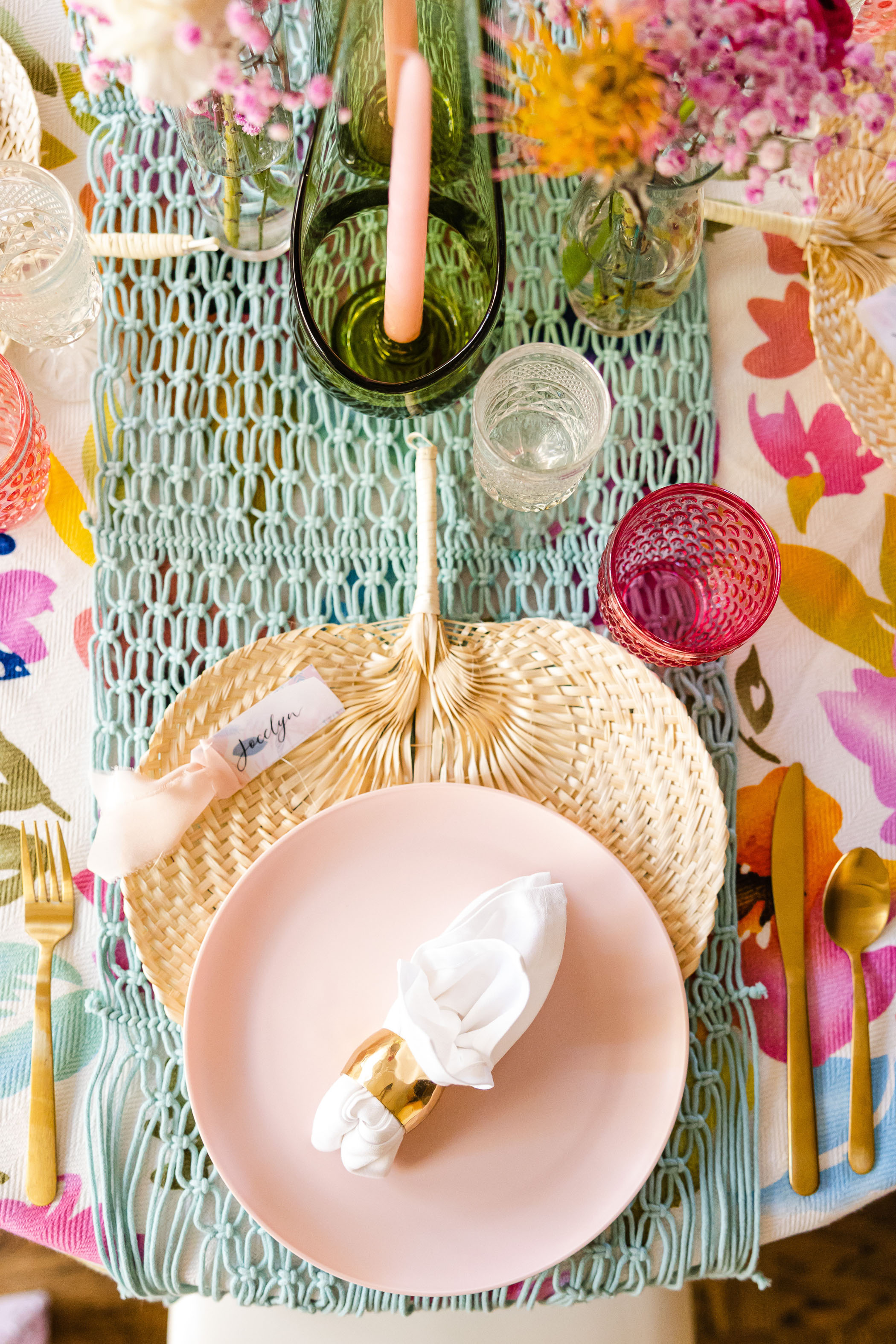 rattan charger colorful place setting