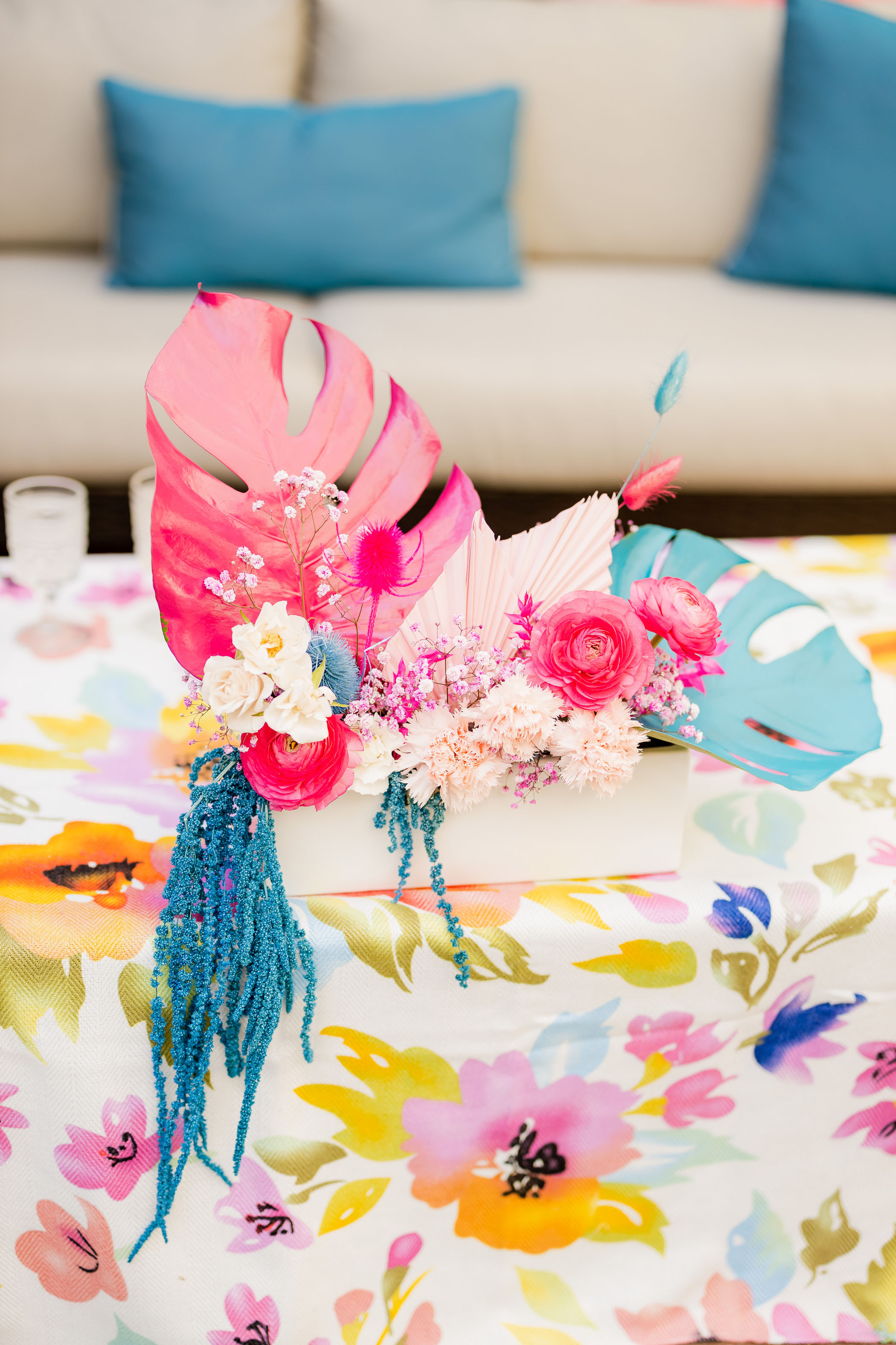 colorful painted palm centerpiece