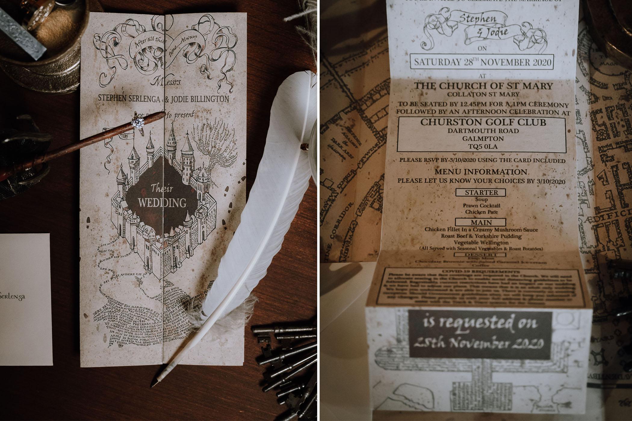 Marauders Map Wedding Invitation