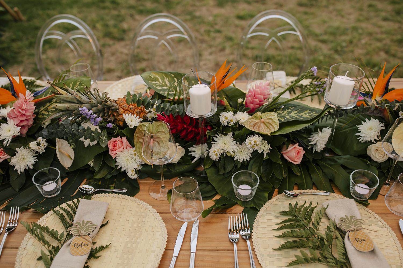 tropical wedding reception tablescape