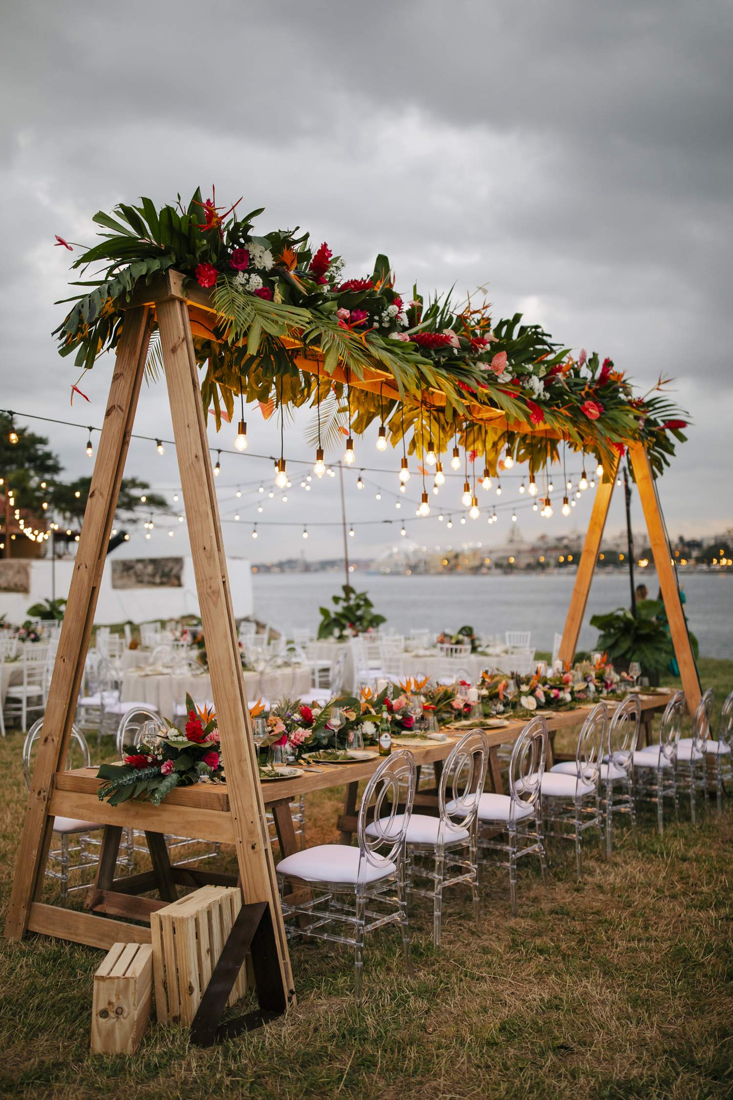 tropical wedding reception with lights