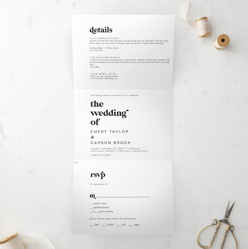 Zazzle modern black typography minimal wedding invitation