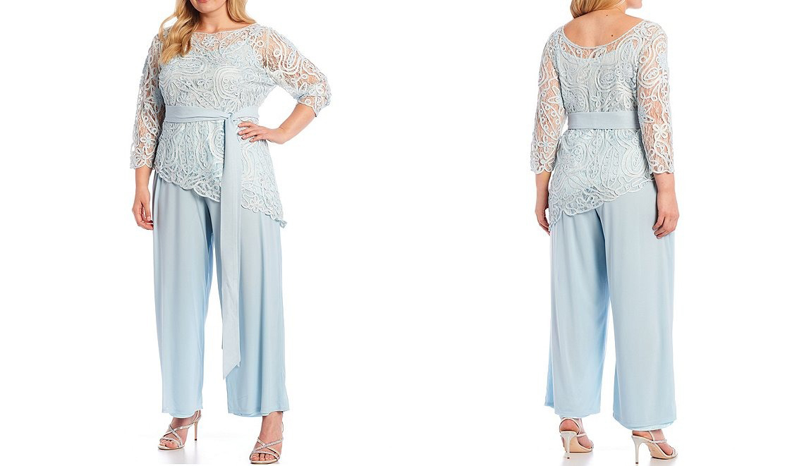 baby blue lace plus size mother of the bride pant suit with three quarter sleeves