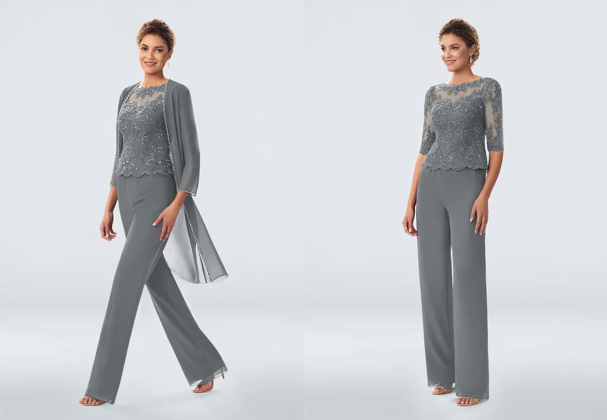steel grayish blue beaded and lace chiffon pant set from Azazie