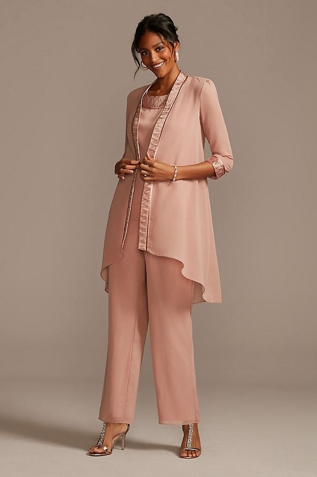 Davids Bridal mother of the bride chiffon pant suit in rose gold