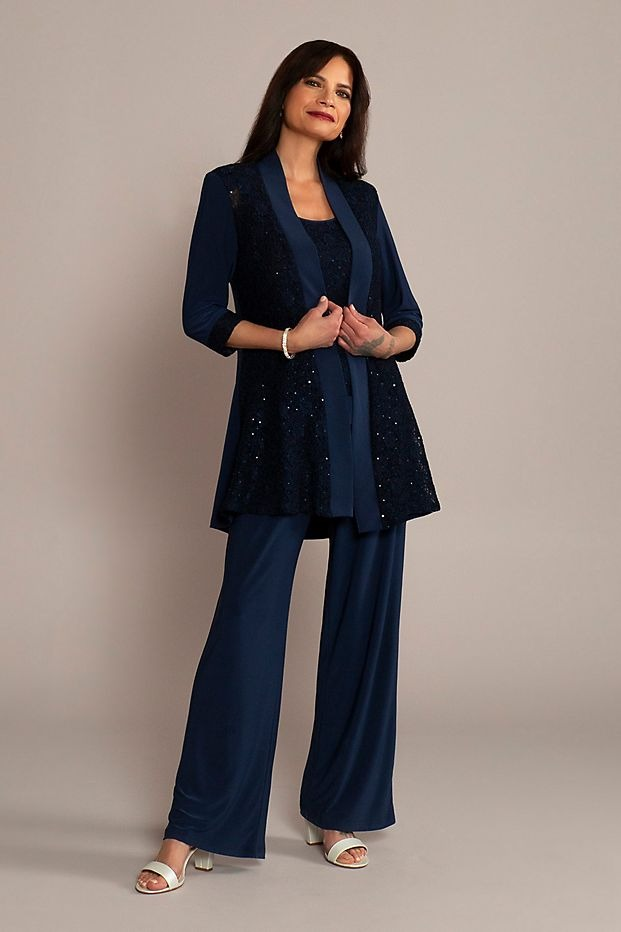 best Davids Bridal mother of the bride sequin pant suits with navy tones