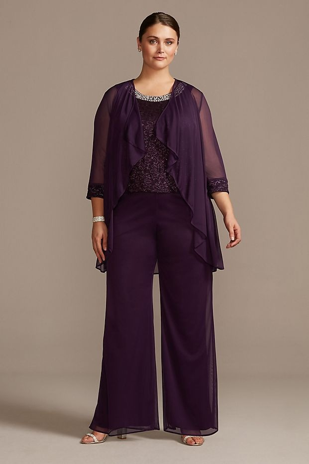 plum purple Davids Bridal plus size mother of the bride pant suit with sequins and rhinestones