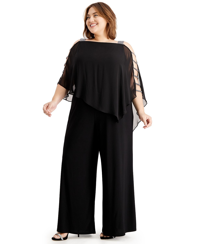 black Macys classy rhinestone cutout plus size mother of the bride pant set