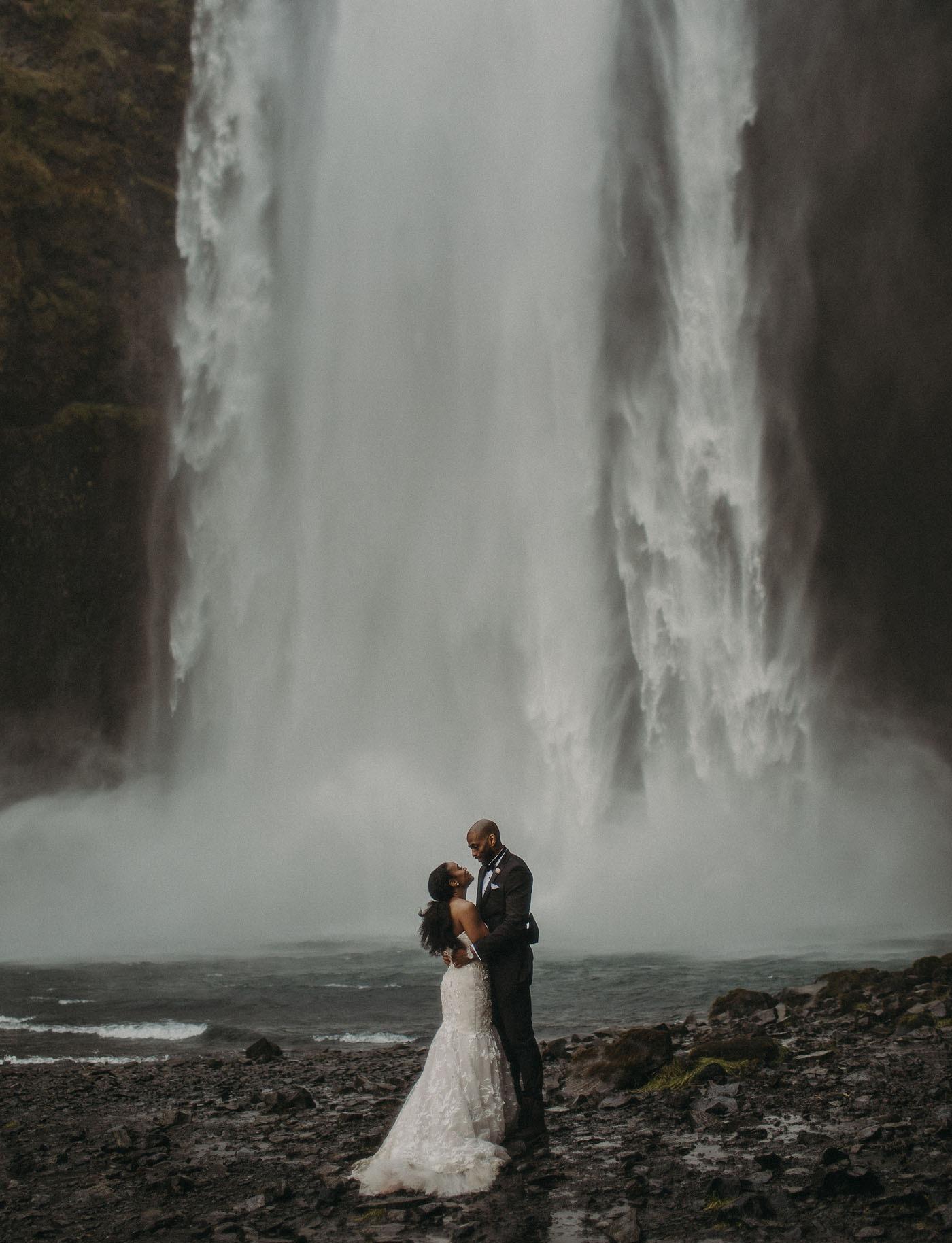 waterfall destination wedding in Iceland