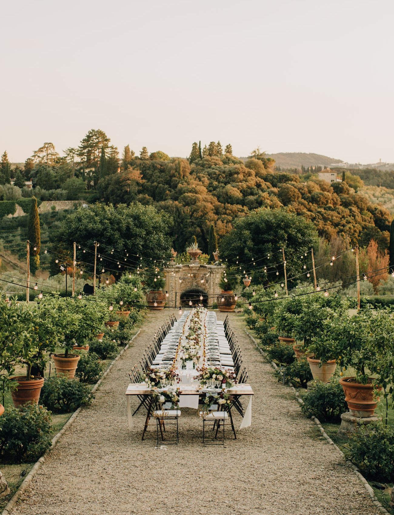 a destination wedding evening al fresco reception in the beautiful countryside of Tuscany Italy