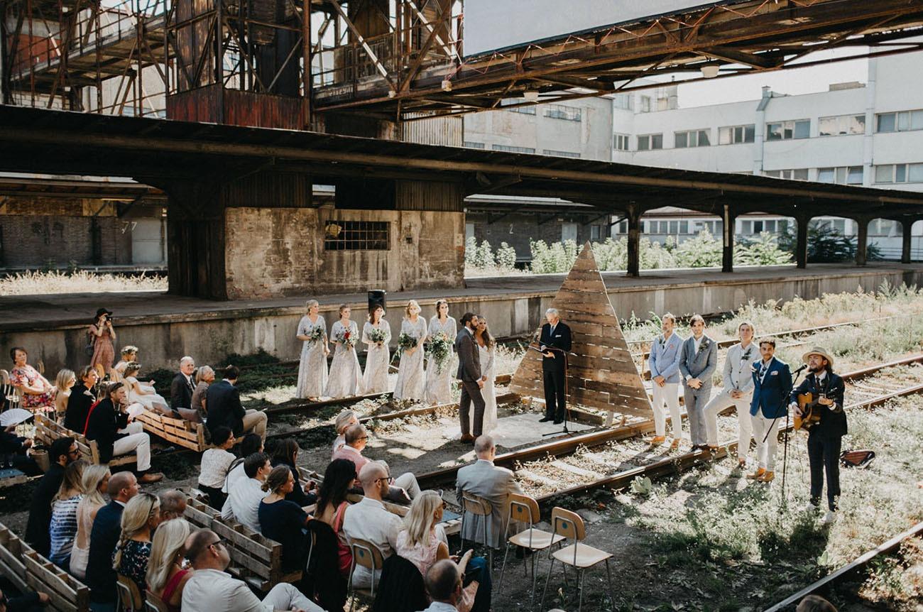 abandoned train station wedding ceremony in Prague Czech Republic