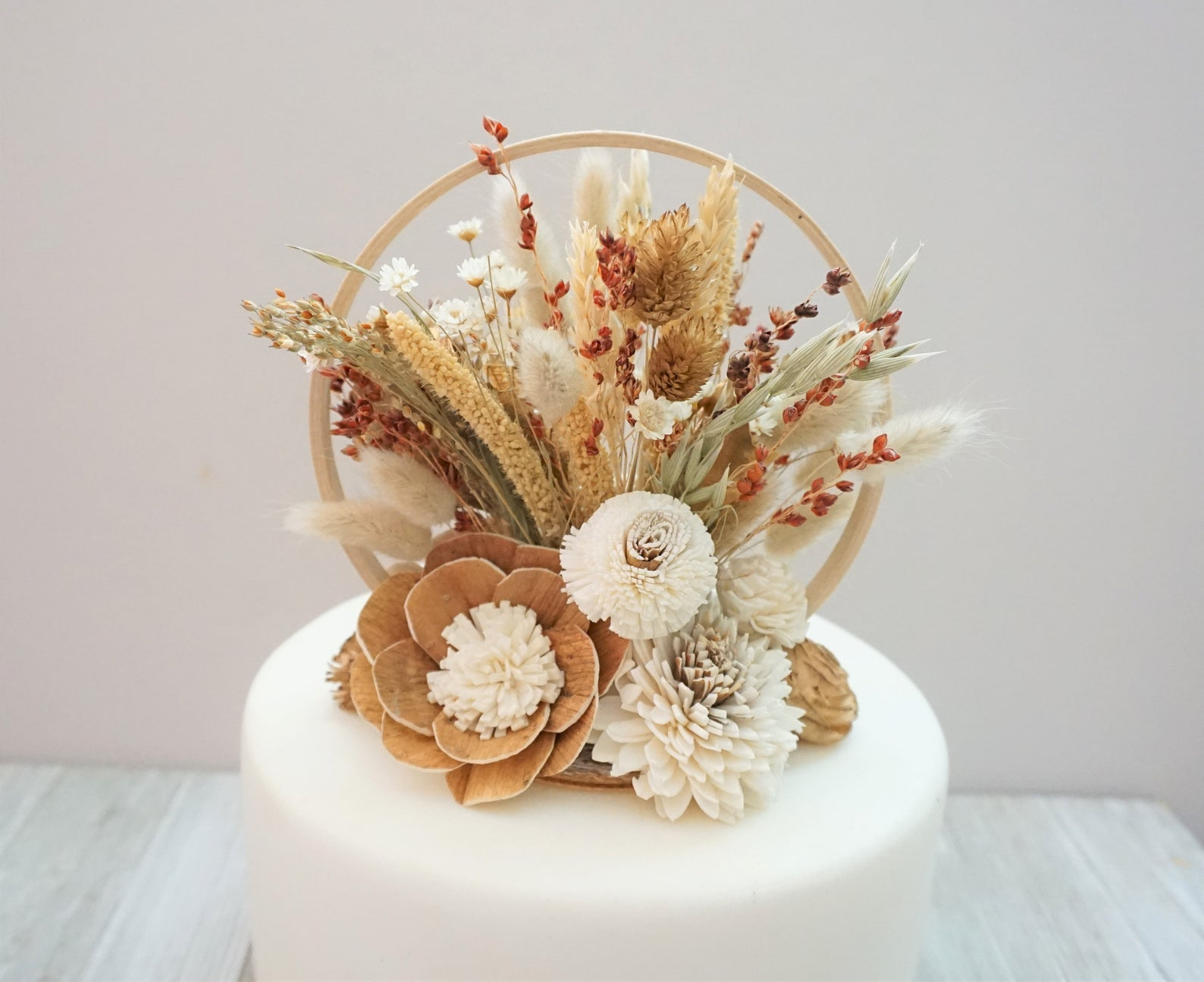 dried floral unqiue wedding cake topper