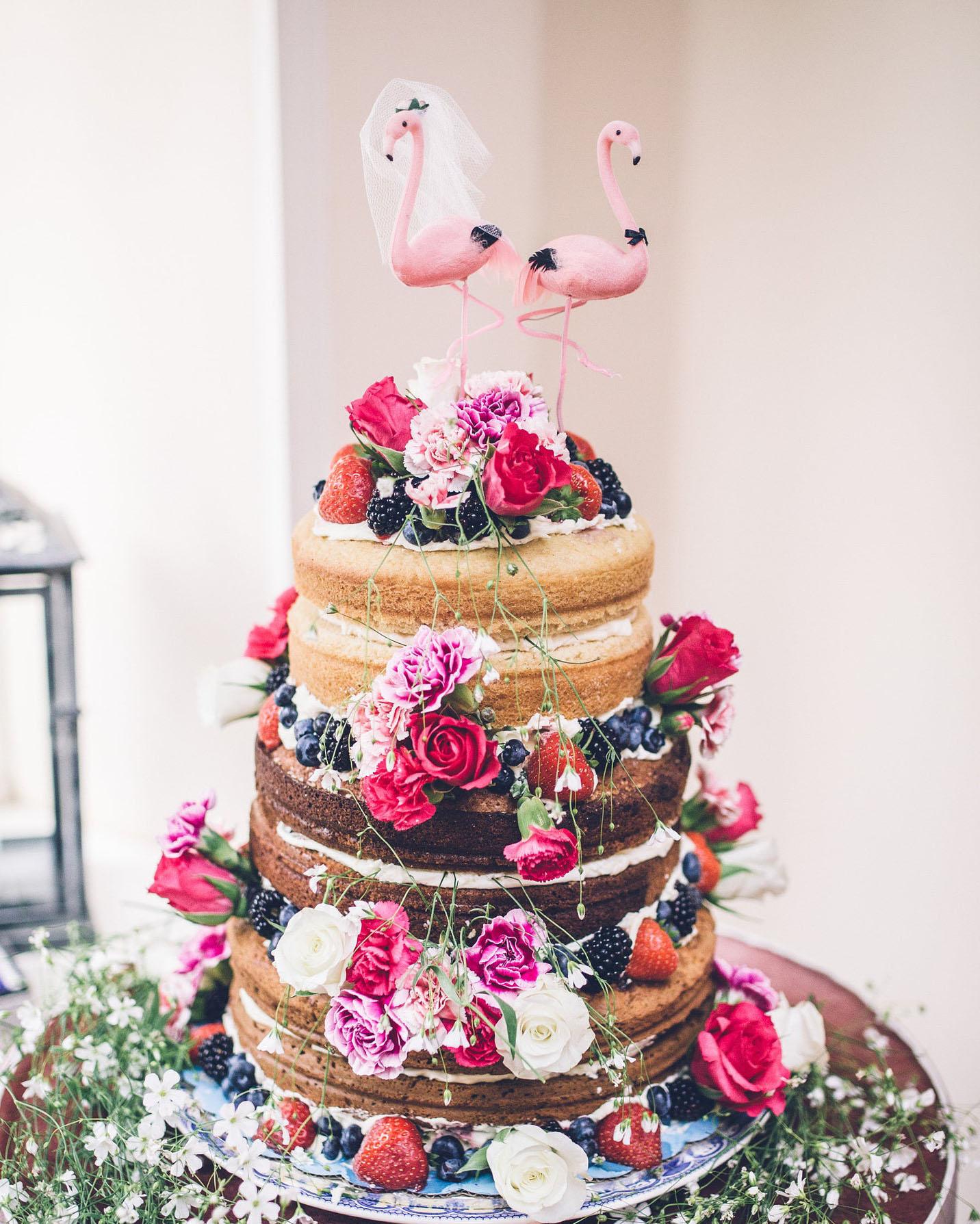 flamingo wedding cake topper