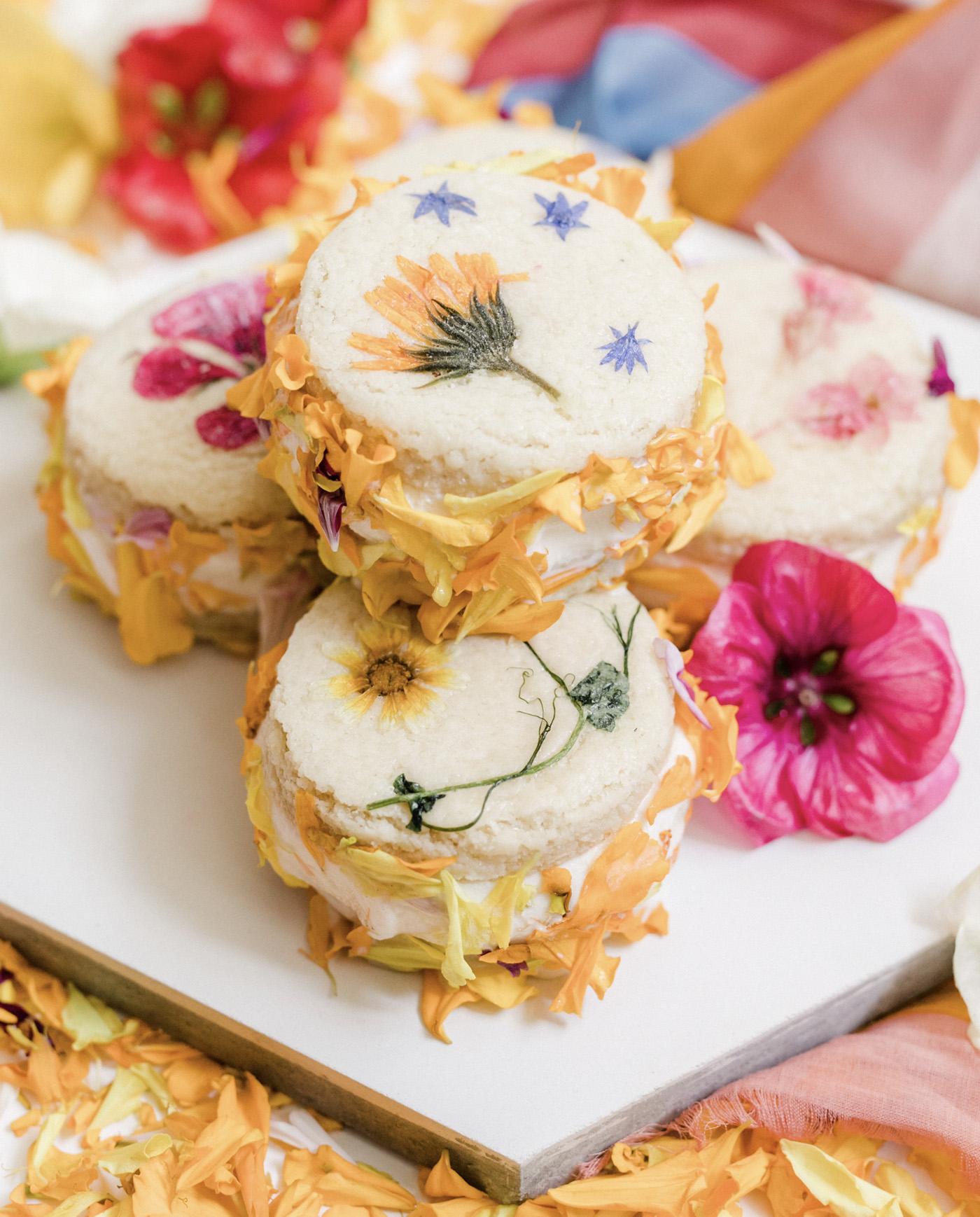 floral ice cream sandwich