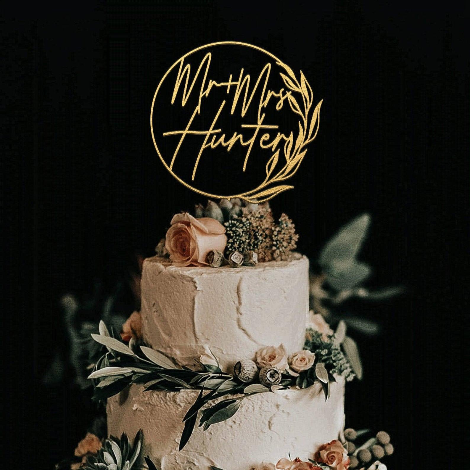 gold round custom cake topper