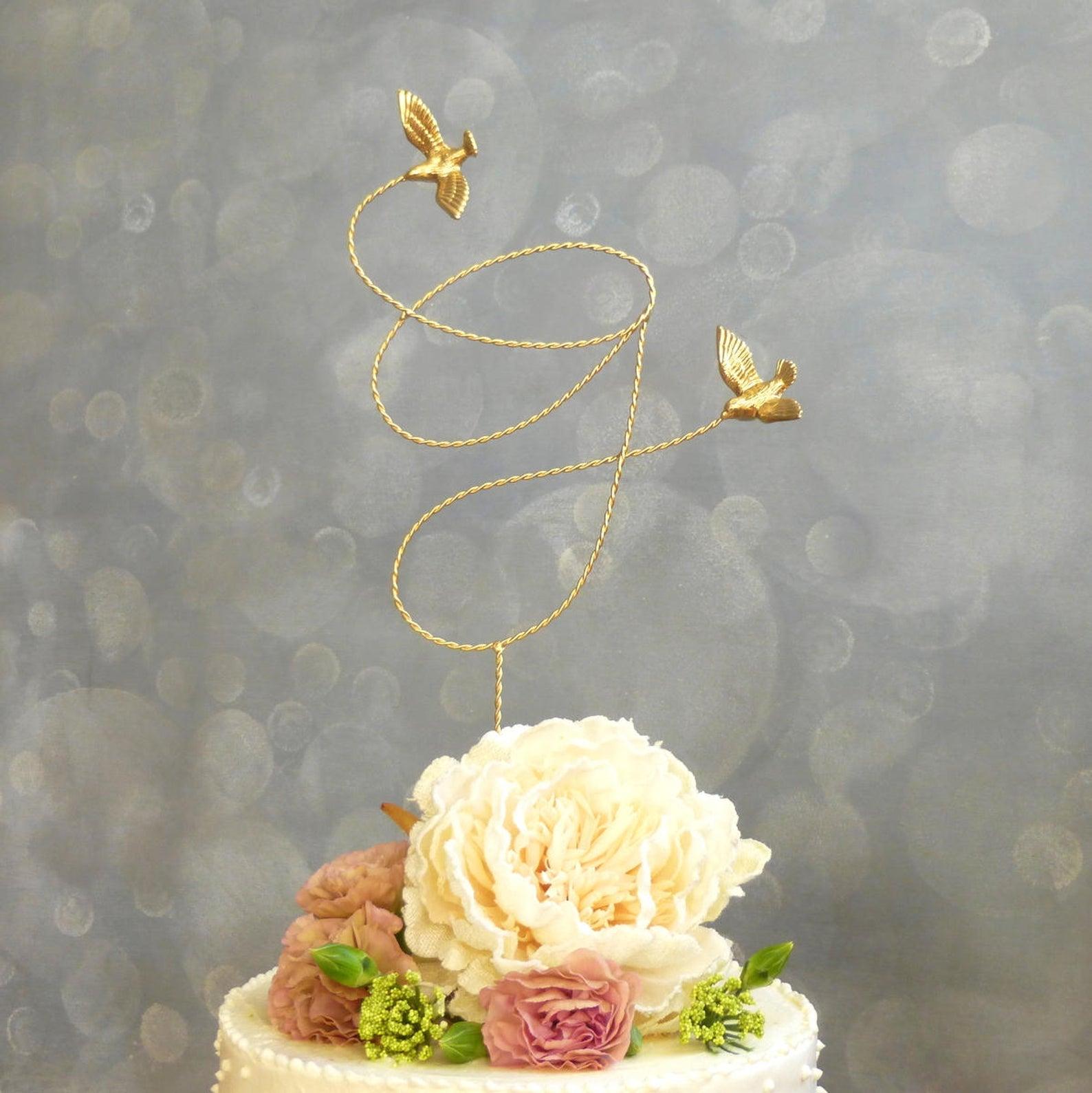 gold wire bird custom cake topper