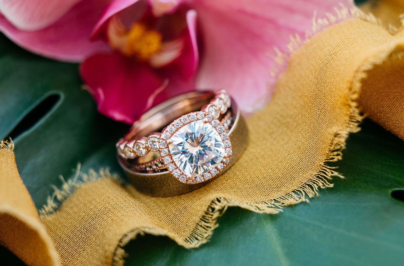 brilliant shining diamond engagement ring on a silk ribbon