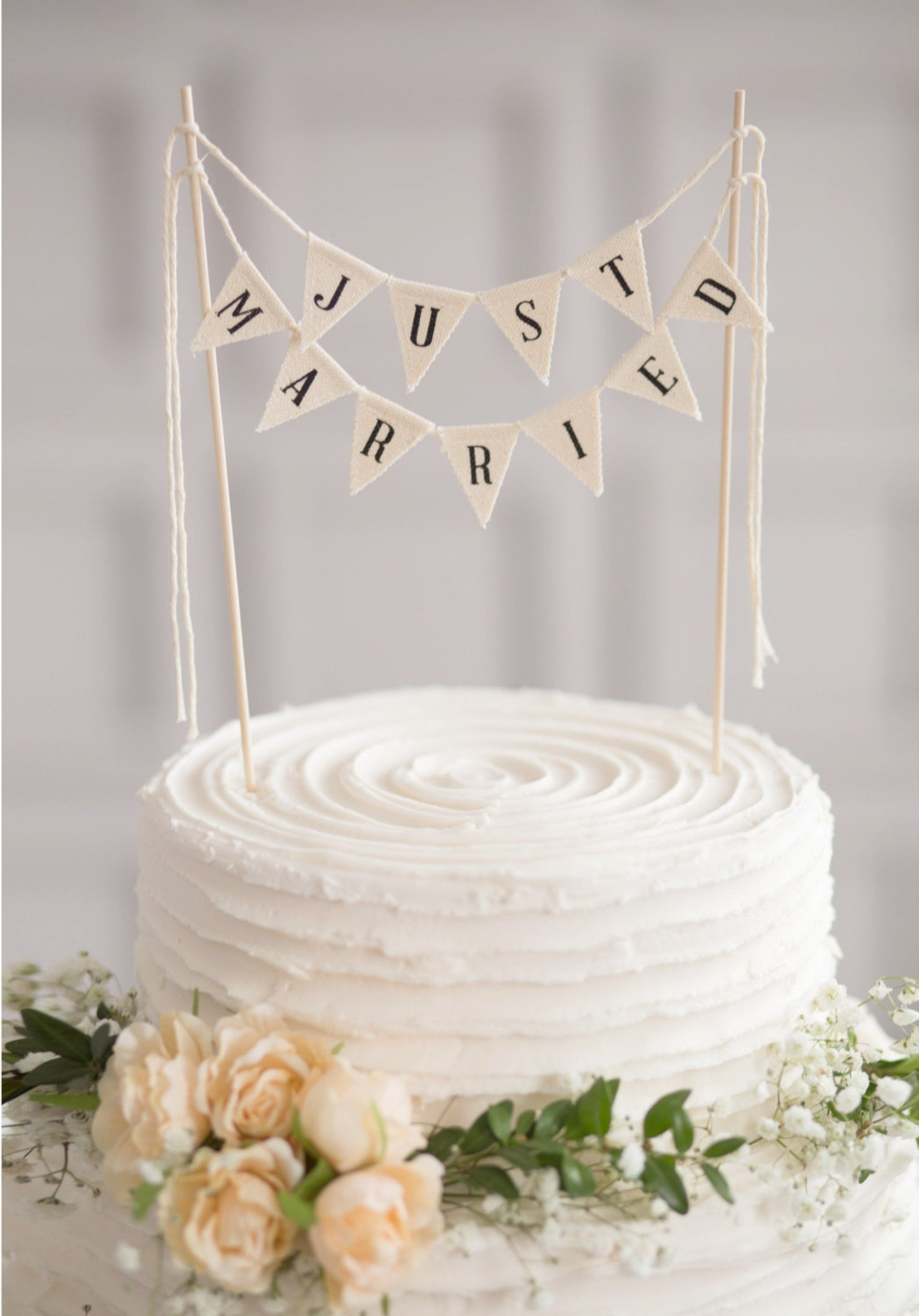 just married banner wedding cake topper