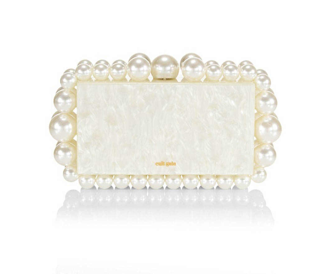 large pearls on bridal clutch