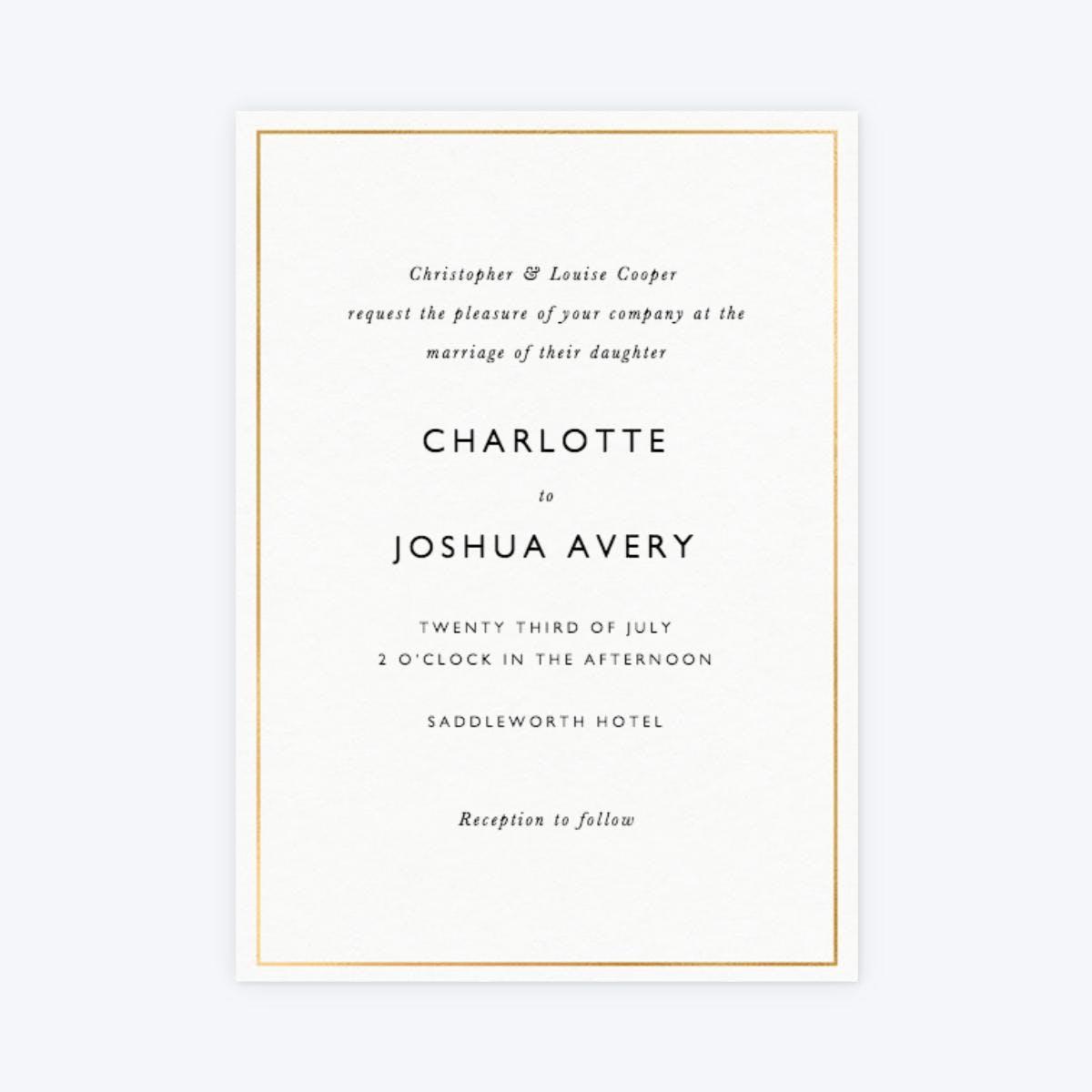 metallic border minimal wedding invitation
