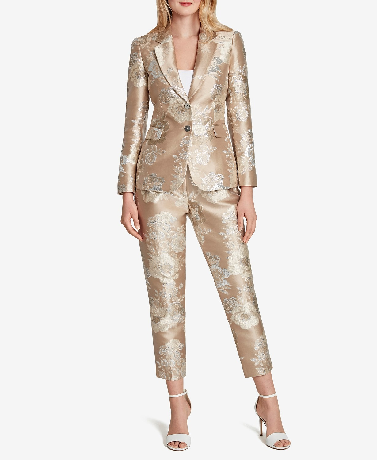 metallic floral fitted Macys mother of the bride pant suits with seven eights leg length