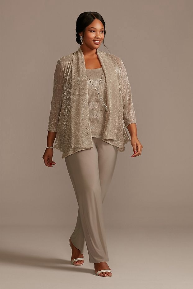 metallic gold plus size mother of the bride pant suit from David's Bridal