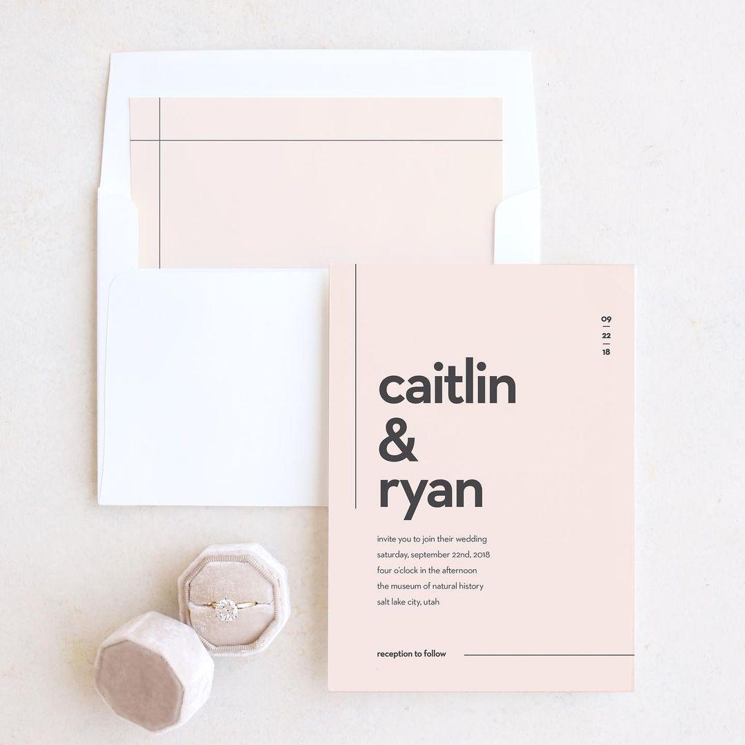 minimal type wedding invitation