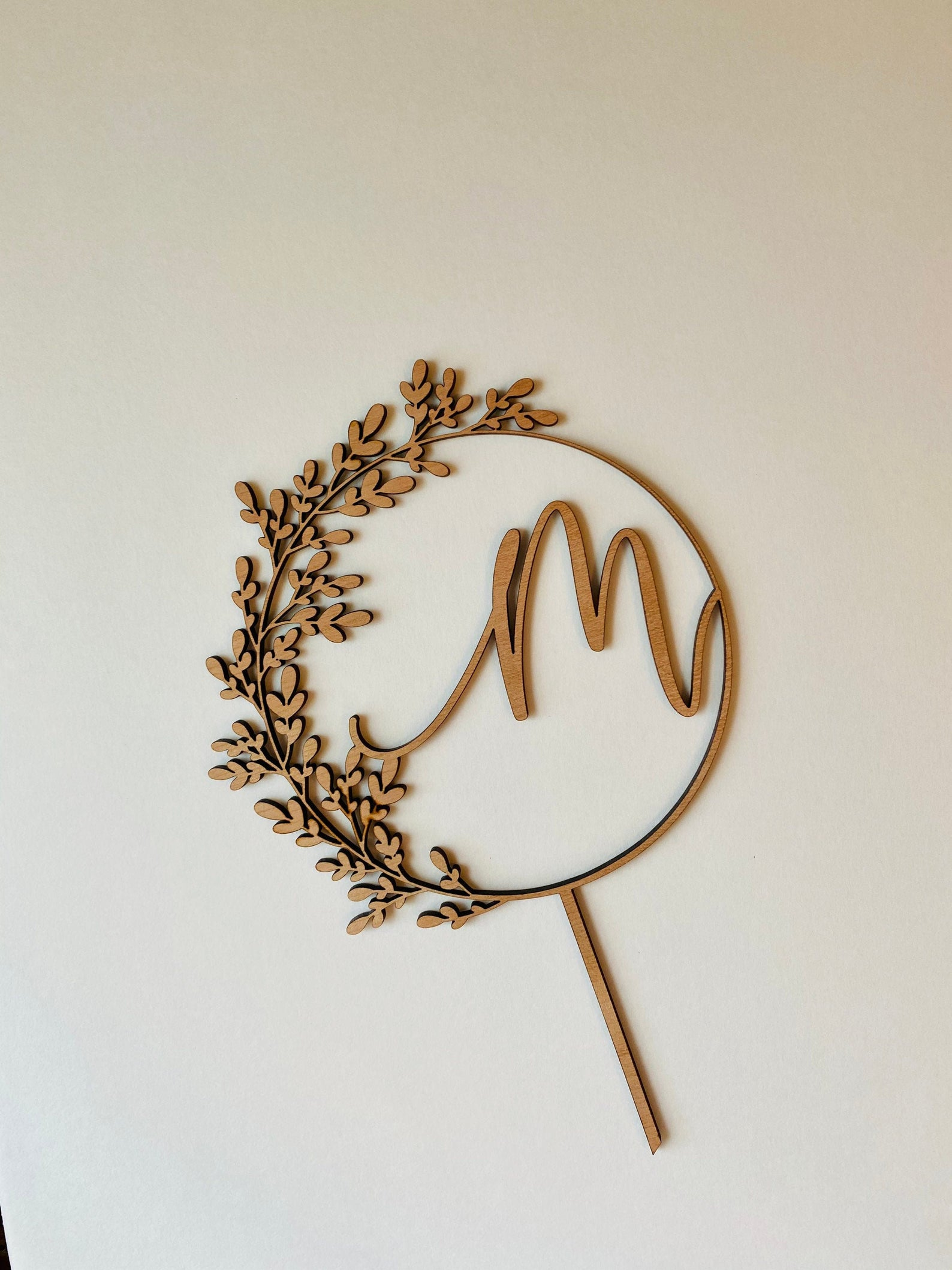 monogram wooden personalized cake topper