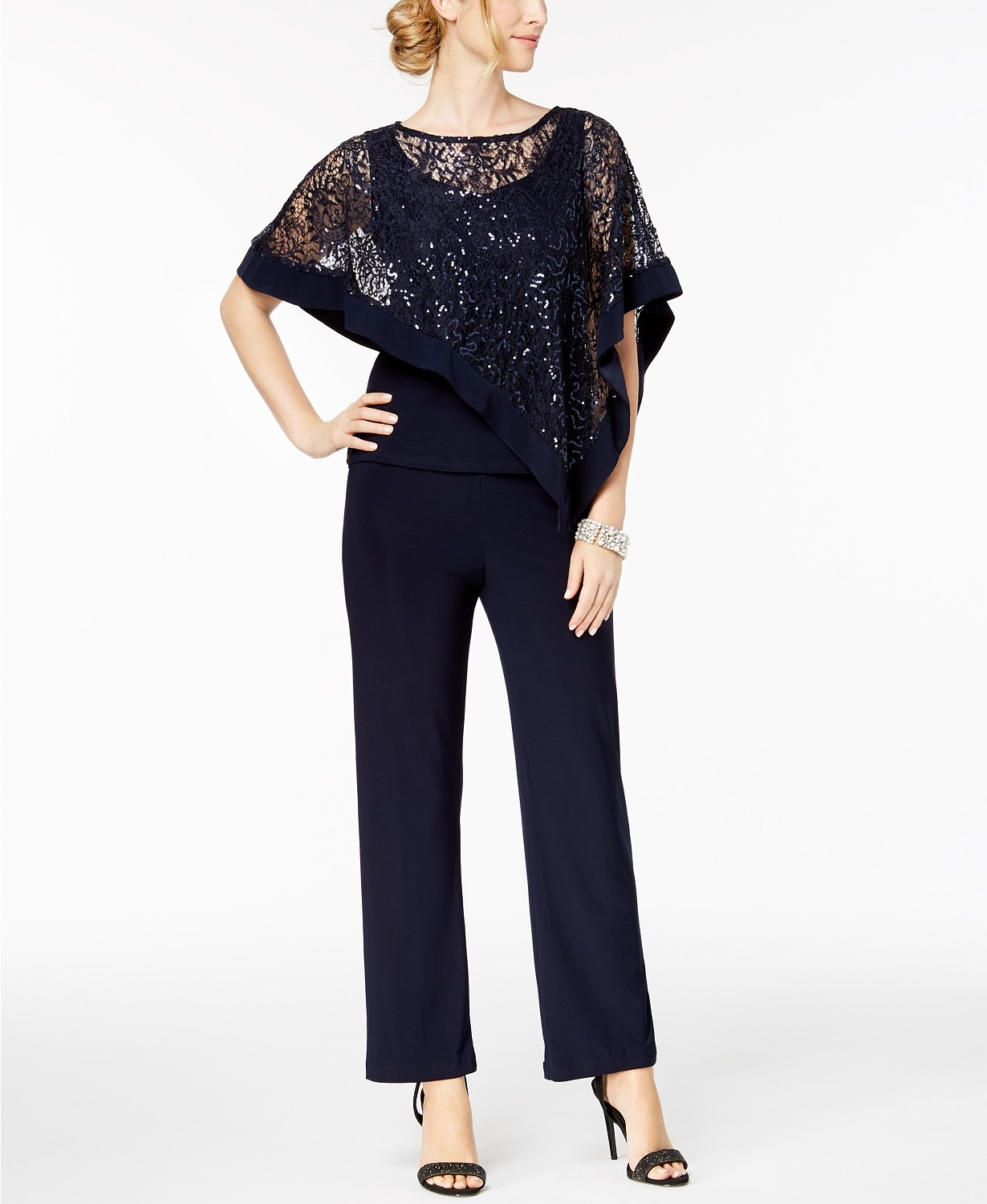 Macys navy mother of the bride sequin pant set with semi sheer overlay