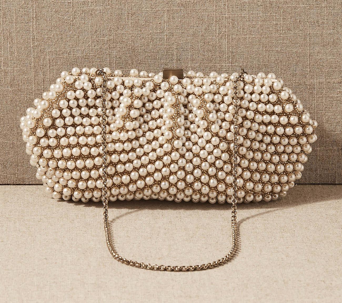 pearl bridal clutch