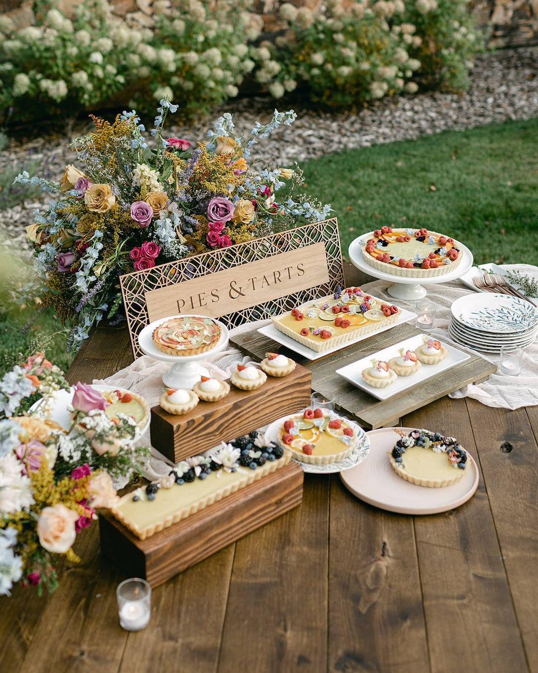 pie and tart wedding dessert table