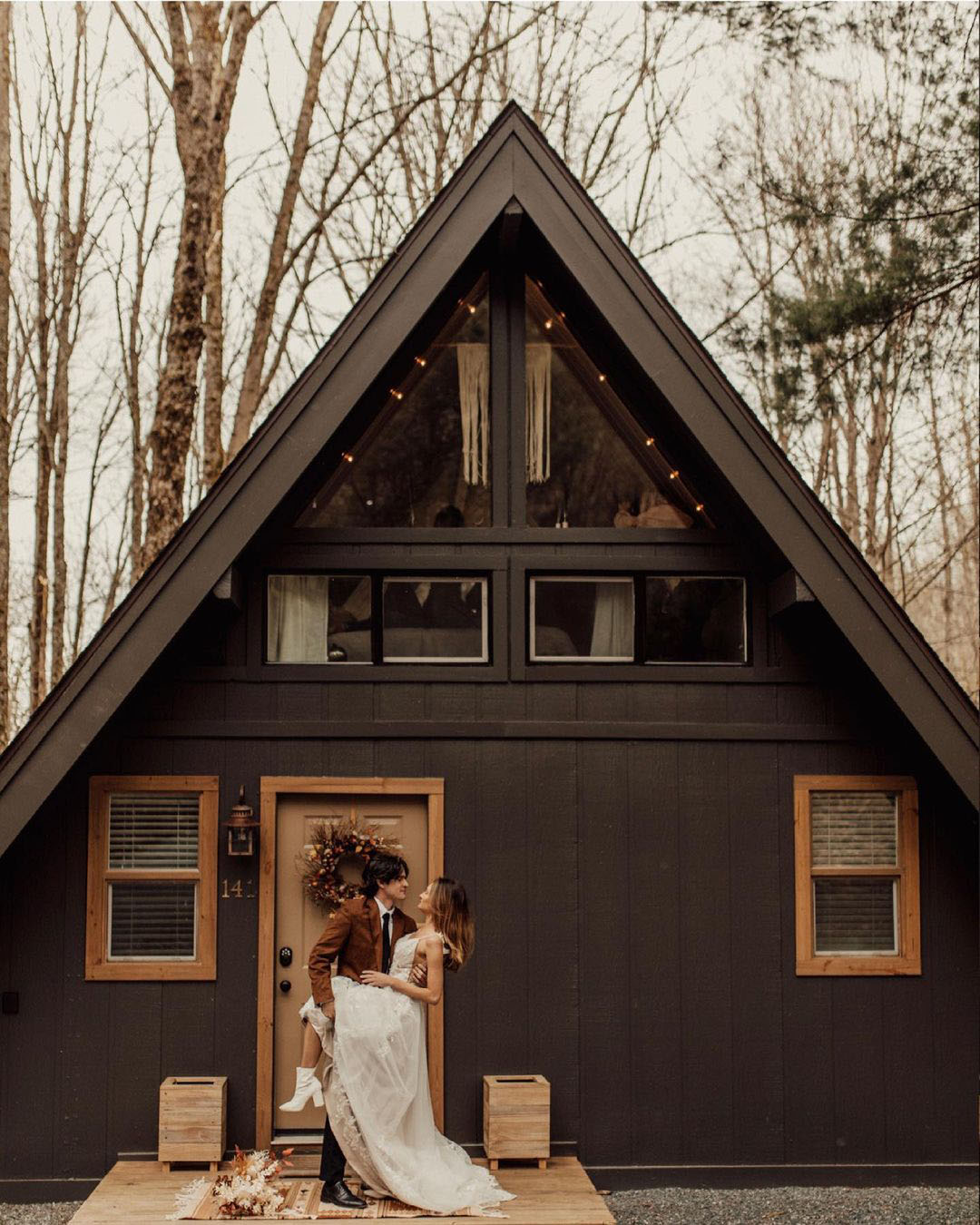 romantic airbnb black aframe